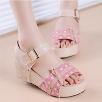 2014 New fashion Women's shoes velcro wedges medium hells shoes platform shoes bow dot open toe sandals