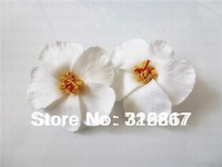 white Foam Hawaiian  flower  Hibiscus Flower bridal hair clip 9cm