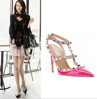 2014 Brand High quality New style women's 11cm high heel belt with rivets pumps Evening summer shoes, Wedding shoes