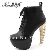2014 fashion boots allotypy with boots personalized bones shoe heel queen women's ultra high heels shoes