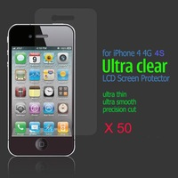 50 x Anti-Glare Ultra Clear LCD Screen Protector Guard Film protectors for Apple iPhone 4 4G 4S free shipping