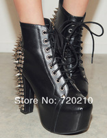 2014 platform ultra high heels martin boots fashion punk rivet thick heel boots lacing boots female