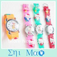 Waterproof Cartoon Kitty Child Watch Girls Kids Steel Wrist Watch 10 Colors Analog fashion watches wristwatch Free Shipping