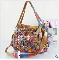 2014 fashion bag handmade flower multicolour bags genuine leather cowhide women's handbag patchwork shoulder bag messenger bag