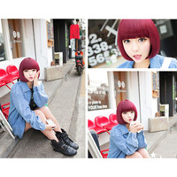 Fashion Women Wine Red Short Straight BOBO Wig Cosplay Party Full Wigs Hair and hairnet Free Shipping