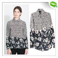 [JFYB] ZA 2014 New Spring Summer Printed Flower Blouses Women Floral Patchwork Shirt Brand Vintage Tops Ladies Fashion Blouses
