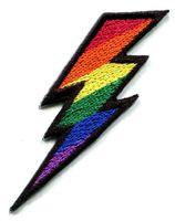 Lightning bolt gay lesbian pride rainbow retro LGBT applique iron on patch