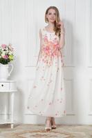 Sale Elegant Women Floral Print Long Dress Chiffon Casual Sexy Ladies Maxi Dress Party Dress Plus Size 2014 New Fashion Summer