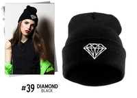 New 2014 Beanie hat wool winter warm DIAMOND knitted caps and hats for man and women hip hop Skullies cool Beanies wholesale