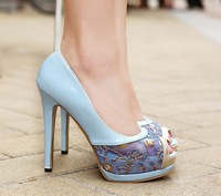 thin high heels blue apricot lace peep toe pumps summer party shoes woman fashion glitter 2014 ladies sandals for women A920