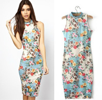 2014 Branded Vintage Stretchy Bodycon Floral Print Pencil Dress Women Sleeveless Wrap Dresses Fitted Sheath Femininas Vestido