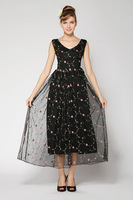 2Color Cute Women Floral Print Long Dress Slim Chiffon Casual Sexy Ladies Maxi Dress Girl Party Dress 2014 New Fashion Summer