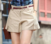 2014 Spring Summer fashion New Women's Slim wild casual fashion solid color shorts female Short pants With Belt T12-13
