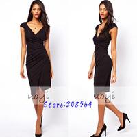 Women Black Waist Pleated Dress Lady Deep V Stretchy Blodycon OL Pencil Dress 0060