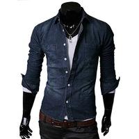 All-match 100% cotton denim shirt male slim long-sleeve shirt