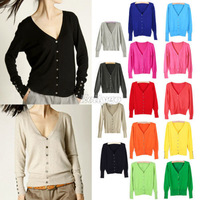 Promotions!! 2014 Spring Autumn Fashion New Ladies Womens Crochet Knit Knitted Buttoned V Neck Top Cardigan Sweater 14 Color