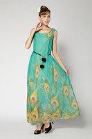 Elegant Cute Women Print Long Dress Slim Chiffon Sexy Ladies Maxi Dress Big Hem Girl Party Evening Dress 2014 New Fashion Summer