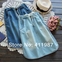 Good Quality 2014 New 2 Colors Women's Hot Sale Pocket Elasticity Waist Slim Casual Skirts.A142