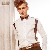 Royal men's clothing 2014 spring male white formal dress lace shirt embroidery tidal current male shirt 14234