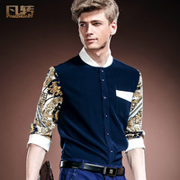 Royal men's clothing 2014 patchwork summer personality male slim three quarter sleeve floral print shirt 14343