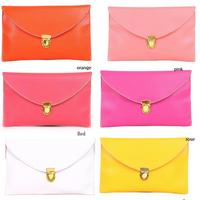 Spring 2014 Promotion Envelope Lady Clutches Woman Bag PU Leather Shoulder Bags Woman  12 Color Woman Messenger bag