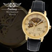 Newest brand Mens Golden Skeleton Hand Wind Mechanical Watch men's wristwatches