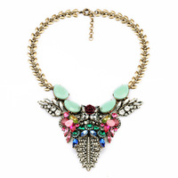 Fashion 2014 Crystal Rhinestone Necklace Flower Acrylic Jewelry Gift Statement Bib Collar Necklace For Woman DFX-84