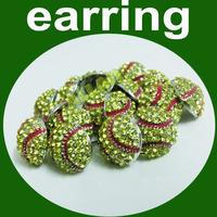 Sparkling Crystal Embellished Round Baseball/Softball Stud Earrings Sports