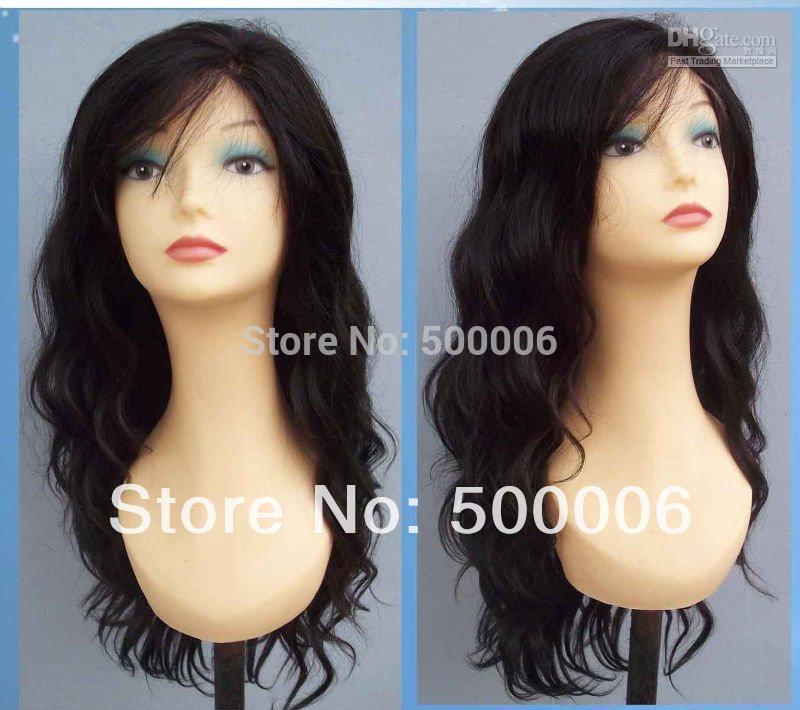 "6A grade virgin peruvian human hair lace wigs wavy natural color 14""-26"" lace frontal wigs free shipping(China (Mainland))"