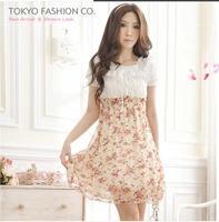 new  2014 spring summer  women's sweet slim waist chiffon flower cute one-piece dress