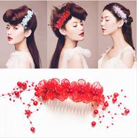 Unique DIY Wholeslae Retail 6pcs/lot Headwear Bride Headdress 6 Colores Flower Hair Insert Comb Hair Accessory