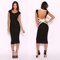 New 2014 Backless Dress Women summer Black Celebrity Vintage Shift Sheath Wear to Evening Party Bodycon Midi Dress Bandage Sexy