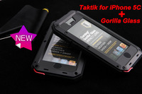 1:1 Luxury Extreme Waterproof Dropproof Metal Al Case For iphone 5c + 100% Gorilla Glass+ retail package , Free Shipping,1009