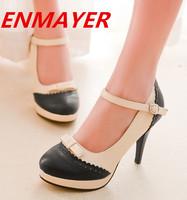 ENMAYER 2014 New Arrival  High Heel Shoes Sexy Dress Spring Footwear Fashion Women Round Toe Rome  Platform Pumps size 34-43