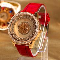Free Shipping,2014 New Arrival,Top Quality Women Rhinestone Dress Watch,Fashion Lady Quartz Leather Watches,Gift Watch