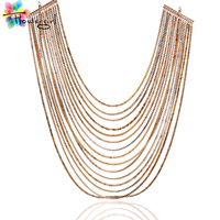 Gold-plated chain type restoring ancient ways is long necklace  [XK001]