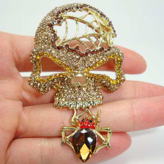 Retro Style Halloween Skull Topaz Rhinestone Crystal Brooch Pin Pendant Free Shipping(China (Mainland))