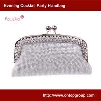 Kiss Lock Diamond Metal Frame Hand Clutch Women Purse Prom Bag