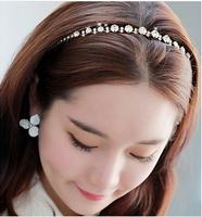 Quality DIY Wholeslae Retail 6pcs/lot Korea HeadBand Pearl Black/White Hair Band Headwear Hair Accessory