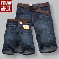 2014 summer slim thin cotton denim shorts knee-length pants male straight teenage shorts