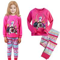 HOT and NEW ! Free shipping retail girl's printed deer long sleeve home & sleep pajamas