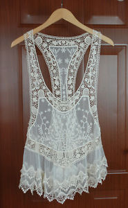 Details about Lady Beige Vintage Hollow Out Crochet Cotton Floral Lace Mini Vest Bohemian Dres(China (Mainland))
