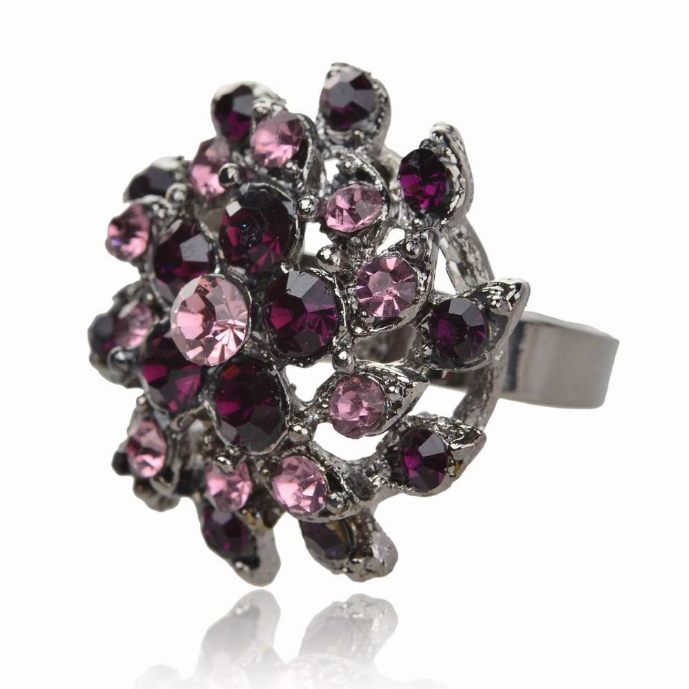 Hematite Purple Flower CZ Rhinestone Finger Cocktail Ring Jewelry free shipping(China (Mainland))