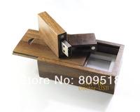 Brown Walnut Wood Magnet USB Drive 1GB 2GB 4GB 8GB 16GB 32GB Memory Flash Pendrive Wooden Stick
