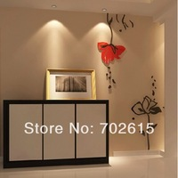Retail 1set flowers Acrylic Crystal 3d art wall sticker decoration creative DIY wall stickers removable home TV wall  decor