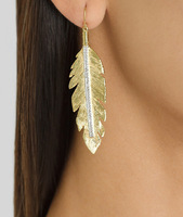 European style gold leaf dangle earrings with crystals women 140116 free shipping cheap price