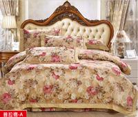 2014 new arrival bedding set king size reactive printing duvet cover silk/cotton bed set flower pattern bed set