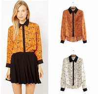 New 2013 Women Chiffon Sexy owl Print Summer long sleeve Shirt Top Button Down Blouse S/M/L plus size