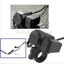 New Motorcycle 12V USB Cigarette Lighter Power Port Integration Outlet Socket for GPS Cell phone