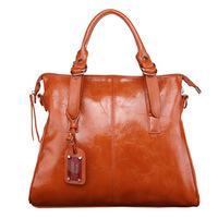 Fashion women's shoulder handbag genuine leather larger messenger bag retro luxury totes Vintage motorcycle Oil wax skin 140423B